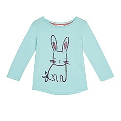 bluezoo - Girls' aqua blue bunny print t-shirt