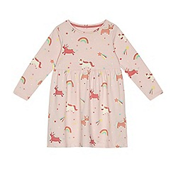 bluezoo - Girls' light pink unicorn print jersey dress