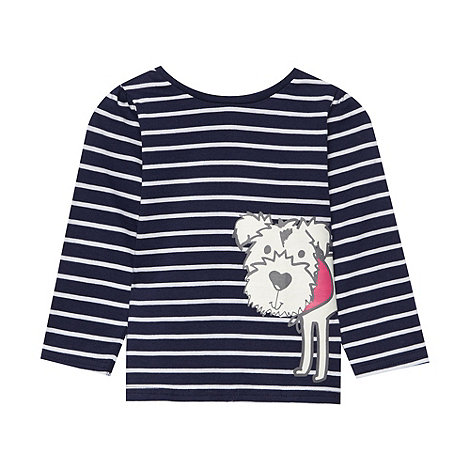 bluezoo - Girl+s navy striped Scottie dog t-shirt
