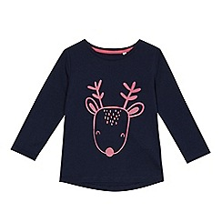 bluezoo - Girls' navy reindeer print top