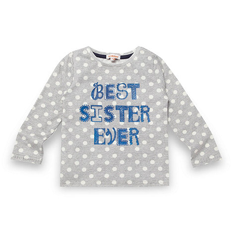 bluezoo - Girl's grey spotted 'Best Sister' top