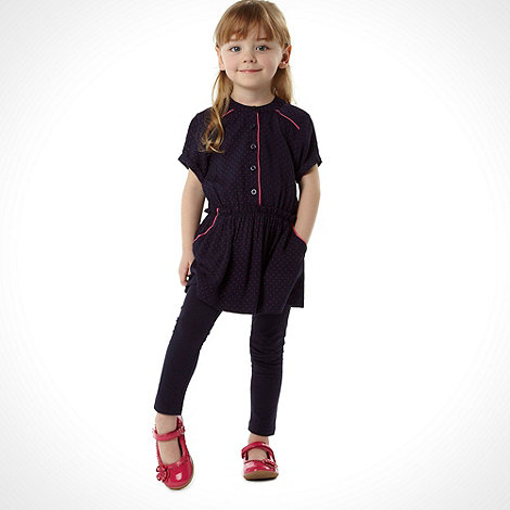 J by Jasper Conran - Girl+s navy spotted tunic and leggings set