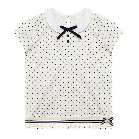 J by Jasper Conran - Designer girl+s navy spotted collar top