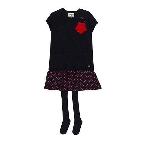 J by Jasper Conran - Girl+s navy knitted dress and tights set