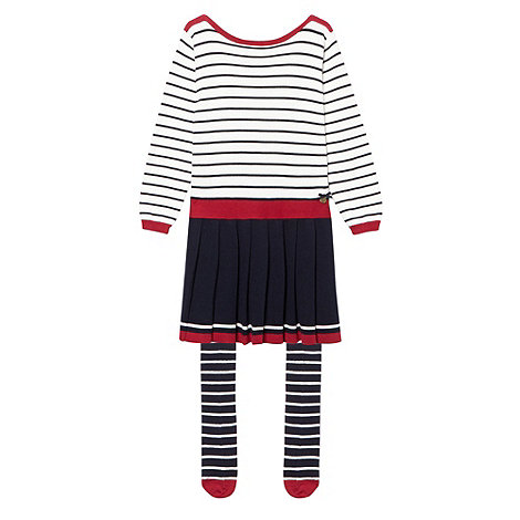 J by Jasper Conran - Girl+s multi striped dress and tights set