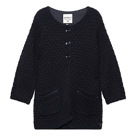 J by Jasper Conran - Designer girl+s navy chunky knit cardigan