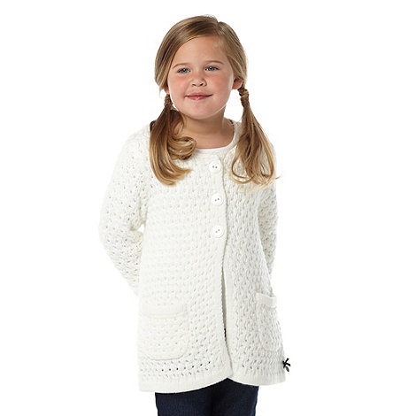 J by Jasper Conran - Designer girl+s cream knitted cardigan