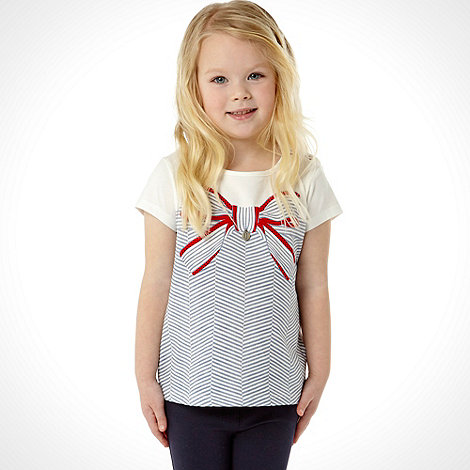 J by Jasper Conran - Designer girl+s navy striped bow t-shirt