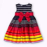 Designer girl's navy graduating striped party dress