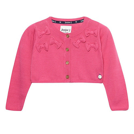 J by Jasper Conran - Designer girl+s pink cropped bow cardigan