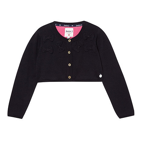 J by Jasper Conran - Designer girl+s navy cropped bow cardigan