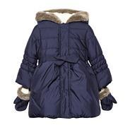 Girl's navy padded coat and mitts