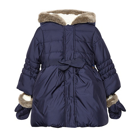 J by Jasper Conran - Girl+s navy padded coat and mitts