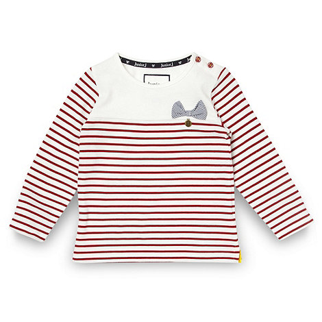 J by Jasper Conran - Girl+s red designer textured striped top