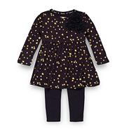 Designer girl's navy floral jersey tunic and leggings set