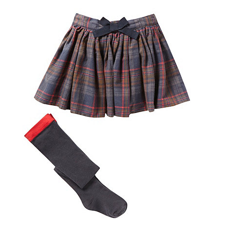 J by Jasper Conran - Designer girl+s dark blue checked skirt and tights