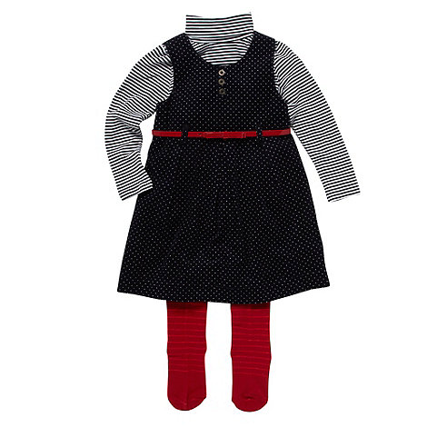 J by Jasper Conran - Designer girl+s navy pinafore top and tights set