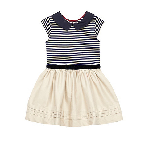 J by Jasper Conran - Designer girl+s natural striped woven dress