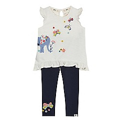 Mantaray - Girls' white elephant applique top and leggings set