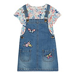 Mantaray - Girls' blue applique denim dungarees and t-shirt set