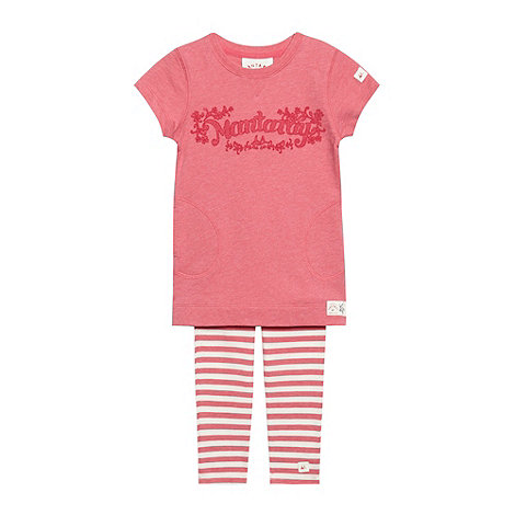 Mantaray - Girl+s pink sweat tunic and leggings set