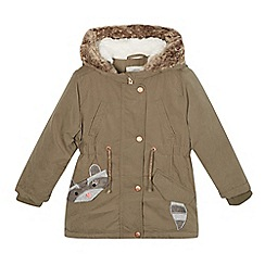Mantaray - Girls' khaki racoon applique parka coat