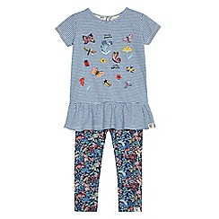Mantaray - Girls' blue printed t-shirt and leggings set