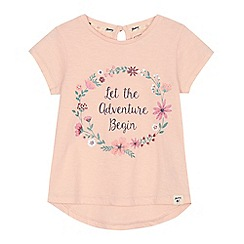 Mantaray - Girls' pink 'Adventure' slogan print t-shirt