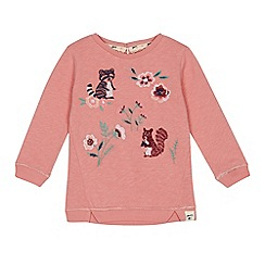 Mantaray - Girls' pink woodland embroidered sweater