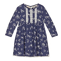 Mantaray - Girls' navy horse print dress