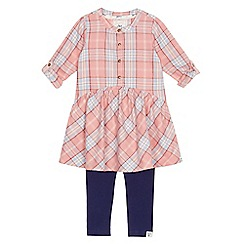 Mantaray - Girls' pink checked shirt dress and navy leggings set