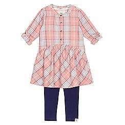 Mantaray - Girls' pink checked shirt dress and navy leggings set