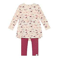 Mantaray - Girls' cream and red horse print top and leggings set
