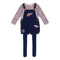 Mantaray - Girls' navy floral print dungarees, top and tights set