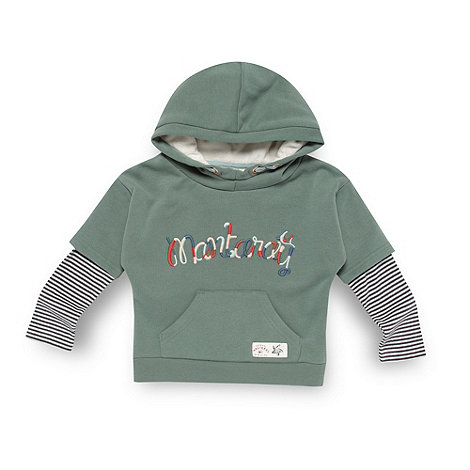 Mantaray - Boy+s green mock sleeve hoodie