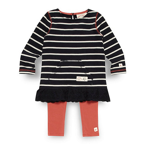 Mantaray - Girl+s navy striped tunic and leggings