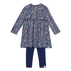 Mantaray - Girls' navy floral print dress and leggings set