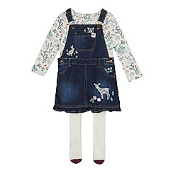 Mantaray - Girls' blue denim pinafore, printed top and tights set