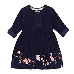 Mantaray - Girls' navy corduroy embroidered animal dress