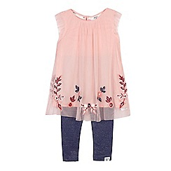 Mantaray - Girls' pink dress and leggings set