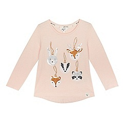 Mantaray - Girls' pink sequin animal bauble applique t-shirt