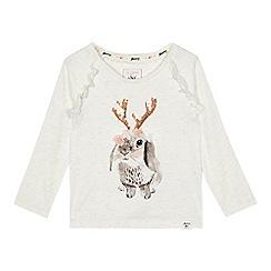 Mantaray - Girls' white rabbit reindeer print t-shirt