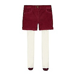 Mantaray - Girls' dark red corduroy shorts and tights set