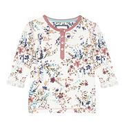 Girl's white floral button t-shirt