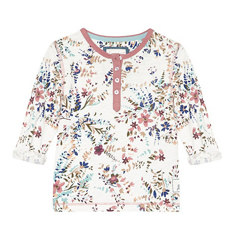 Mantaray - Girl+s white floral button t-shirt