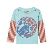 Girl's light blue badger print striped sleeve top