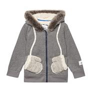 Girl's grey fleece lined sweat hoodie