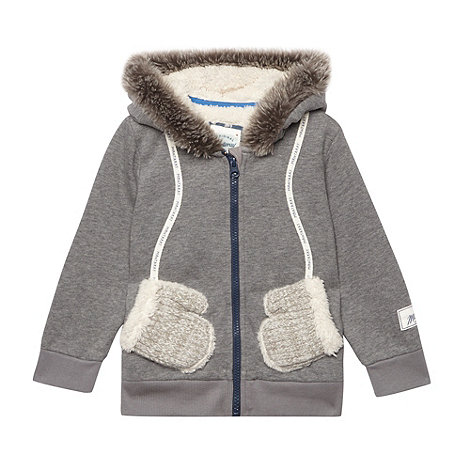 Mantaray - Girl+s grey fleece lined sweat hoodie