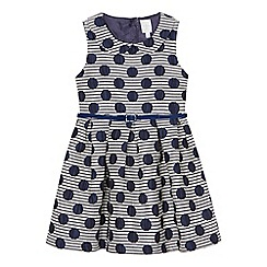 J by Jasper Conran - Girls' navy spotted jacquard dress