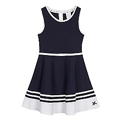 J by Jasper Conran - Girls' navy block striped hem dress